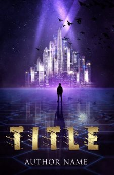 A futuristic city. Book cover design created by MaryDes and available at bookcoverdesigns.eu.